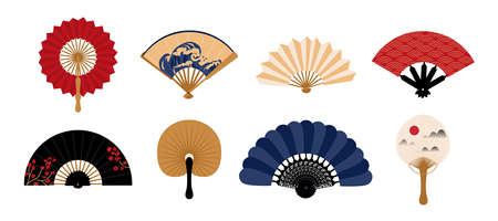 Hand fan. Japanese traditional vintage clothing decorative element. Chinese folding painted paper cooling accessory collection. Asian souvenir template. Vector oriental clothes set