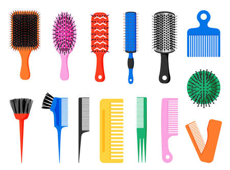 Comb. Hair brush. Various colored tools for barber and hairdresser. Round and flat hairbrush collection. Isolated professional beauty salon equipment. Vector personal accessories set Ilustracja