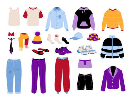 Mens clothing. Cartoon business and casual garments. Colorful pants and shirts. Pullover or jackets. Male shoes. Socks and hats. Everyday clothes of man. Vector seasonal outfit set