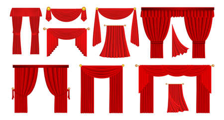 Realistic red drapery. Theater stage and opera scene velvet fabric curtains. Movie cinema hall scarlet wavy cloth. Luxury window decorations set. Vector flowing textile drape template