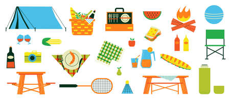 Cartoon picnic camping. Fireplace with tent, blanket and basket. Food and drinks for summer family weekend. Travel equipment and tableware. Hiking or vacation. Vector camp elements set