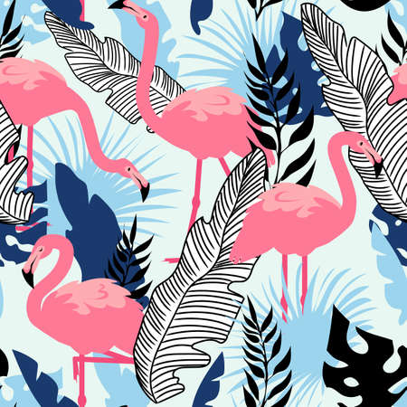 Flamingo pattern. Seamless summer texture with pink exotic bird and tropical palm tree leaves. Cartoon animal. Decor textile, wrapping paper, wallpaper vector summer beach print or fabric Ilustracja