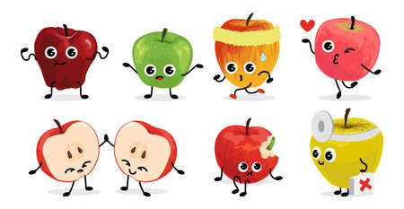 Apple characters. Cartoon fruit mascots with funny faces. Green, red and yellow organic products. Sport and healthy talismans collection. Vector isolated diet food emoticon templates set Ilustracja