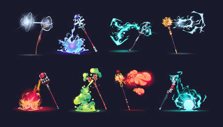 Magic stuff with effects. Cartoon wizard weapon with different colorful fire or explosions. Game arms collection. Isolated scepters with magical battle spells. Vector sorcerer sticks set