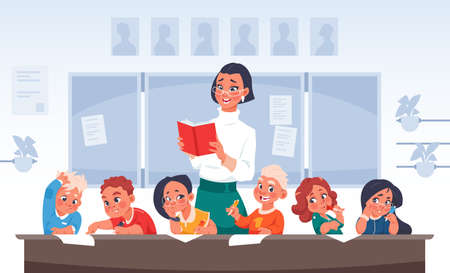 Children and teacher. Cartoon primary school students. Happy boys and girls in kindergarten listen to woman with book. Pupils sit at desk in classroom. Vector lesson scene illustration