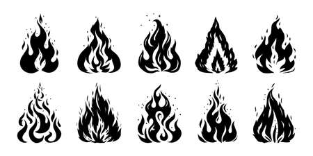Fire sketch. Hand drawn silhouette of flame. Retro stencil of doodle fireplace. Isolated black and white bonfire mockup. Warning flammable symbols template. Vector ignite signs set Ilustracja