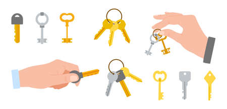 Bunch of keys. Cartoon hands holding bundle of metal yellow and silver latchkeys on rings. Arms opening or closing locks. Vintage and modern openers. Vector door protection tools set