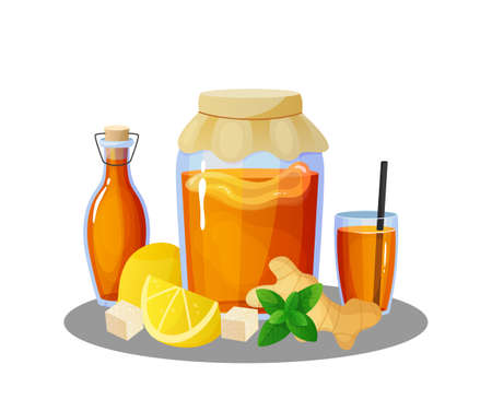 Kombucha drink. Cartoon jars and glasses with summer cold beverage of tea mushroom. Bottles and lemon pieces. Ginger or mint leaves. Natural refreshing product. Vector illustration Ilustracja