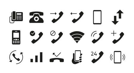 Phone icons. Telephone mail and smartphone communication symbols. Answer and decline call interface button. Phone network connection indicators mockup. Vector isolated graphic signs set