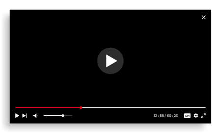 Online video player. Streaming screen template with interface buttons. Empty digital window with progress bar, play forward and volume UI icons. Vector network multimedia illustration Ilustracja