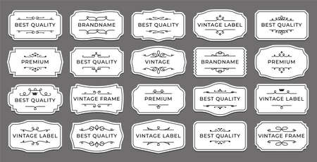Vintage label. Decorative retro sticker with ornamental elements. Isolated minimalistic tags layout. Classic elegant borders mockup for branding. Vector wedding calligraphic emblems set Ilustracja