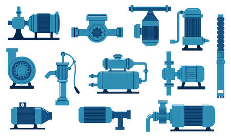 Water pump. Oil industry compressor with motor. Engineering aqua tank with tubes and valves. Isolated diesel supply system. Plumbing machine collection. Vector sewer piping equipment set Ilustracja