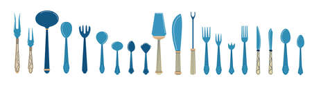 Cutlery. Cartoon tableware with spoons, knives and forks. Dining tools and tableware icons. Banquet flatware. Blue tablespoon or teaspoon. Vector restaurant and bistro elements set