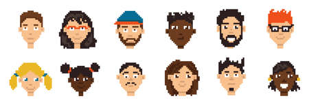 Pixel avatars. Hero character minimalistic game portrait concept. Cartoon player network account icon design collection. Simple female and male face. Vector retro boy and girl heads set Ilustracja