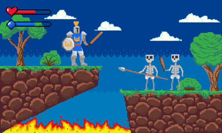 Pixel game. Platform 8-bit video gaming screen with gameplay skeleton enemies and knight player. Arcade adventure interface template. Old computer entertainment. Vector illustration