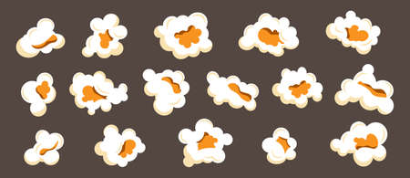 Cartoon popcorn. Movie popped corn snack isolated set, various big white cinema or circus premiere food, sweet or salty snack. Fluffy souffles corns different angles view, vector illustration Ilustracja