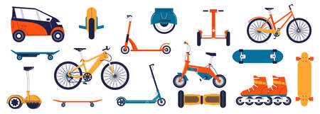 Light transport. Cartoon personal transportation vehicles. Rollers skate and electric hoverboard, monowheel. Isolated image collection. Skateboard or bicycle. Vector urban bikes set