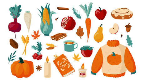 Autumn set. Cartoon falling foliage with warm clothes. Hot drinks and sweet cookies. Vegetables or fruits harvest. Cozy October collection. Maple and oak leaves. Vector season elements