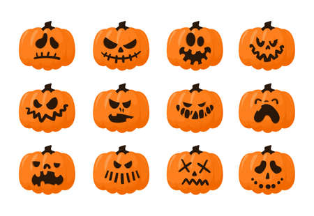 Pumpkin faces. Scary Halloween carved symbol with spooky emotions, Jack face bright pumpkins collection, autumn celebration symbol. Decor elements for design. Vector cartoon isolated set