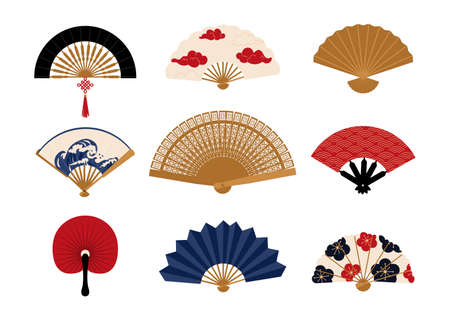Paper fan. Chinese folding painted hand accessories. Japanese traditional vintage clothing decorative elements collection. Isolated Asian bright souvenirs. Vector oriental clothes set