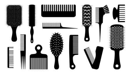 Black hair brush. Silhouettes of combs for haircut. Barber and hairdresser tools. Hairstyling or haircutting equipment. Beauty salon elements. Vector round and flat hairbrushes set Ilustracja