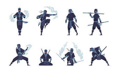 Ninja character. Fighting Japanese warrior with ancient weapon. Shinobi mascot standing in fight pose or meditating. Man training attack with air tails. Vector assassins positions set