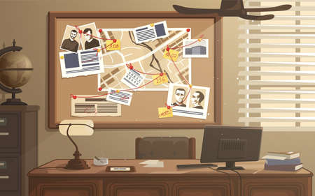 Detective workplace. Police office with investigation board. Searching evidences. Photos, notes and map attached to pinboard. Investigators room with desk and safe. Vector illustration Illustration