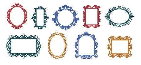 Decorative frames. Doodle trendy curly mirror borders. Elegant vintage hand drawn framing mockup. Isolated square and round colorful baroque decorations. Vector picture frameworks set Illustration