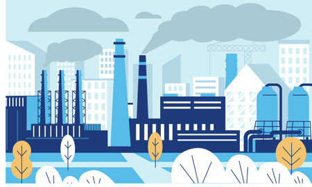 Industrial pollution landscape. Factory polluted city with Carbon dioxide and smoke. Toxic industry and power plant. Manufacturing buildings. Blue cityscape background. Vector town scene Illustration