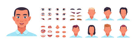 Man face kit. Male avatar constructor kit with hair, nose and lips. Facial shapes and hairstyle templates. Eyes with eyebrows creation. Vector cartoon portrait editable elements set Illustration