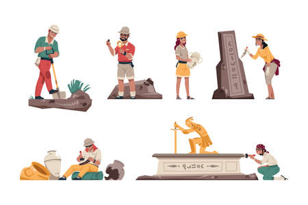 Cartoon archeology. Paleontologist characters with archeological tools. Geologists working in field. People dig up skeletons and discoveries, Vector explorers search antiquities set