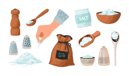 Salt set sketch. Hand drawn salty seasoning in spoons and bowls. Glass bottles and wooden mills with sea crystals. Spice powder piles. Cooking ingredient collection. Vector condiment Illustration