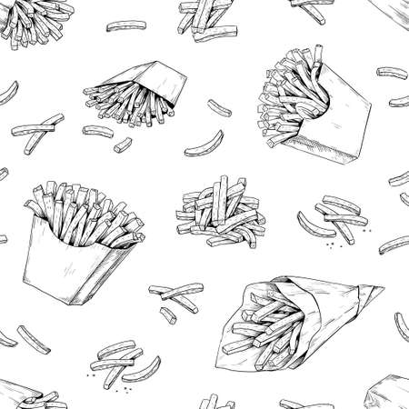 French fries pattern. Hand drawn seamless texture for fast food menu with potato dips. Black and white unhealthy delicious snacks background template. Vector junk meal sketch print