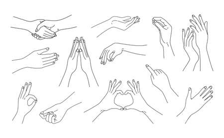 Woman hand gestures. Doodle line female arms sketches for social media post and beauty cosmetic advertising. Handshaking and finger love symbol. Vector silhouette human body parts set