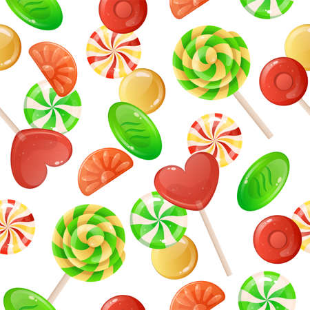 Candies pattern. Cartoon seamless decorative texture with caramel lollipop and gummy jelly. Toffee and chocolate bonbons. Sugary desserts background. Vector confectionery print mockup Illustration