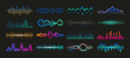 Soundwave. Audio spectrum waveform. Sound frequency and music pulse graphic effect. Volume and radio signal equalizer template. Vector soundtrack recorder dynamic level elements set Illustration