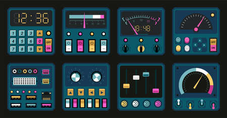 Control panels. Retro PC and radio dashboard with switches and buttons. Connection ports, tuners and dials. Computer interface templates. Electric device UI elements. Vector boards set Illustration