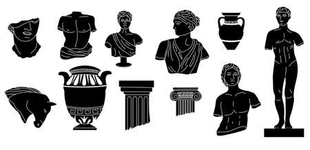 Black doodle sculptures. Abstract ancient Greek mythology statues and columns. Antique amphora and vases. Hand drawn historical Roman style monuments. Vector silhouette sketches set