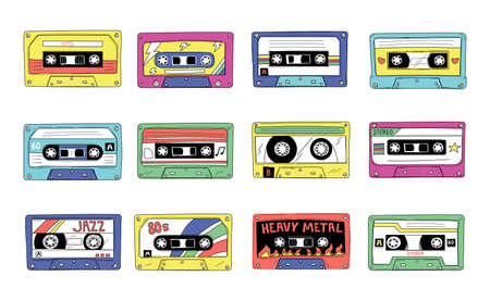 Tape cassette. Retro 90s audio mixtape. Vintage compact stereo player records. 80s style retro rock and pop songs mix. Nostalgic musical hits. Vector multimedia equipment elements set