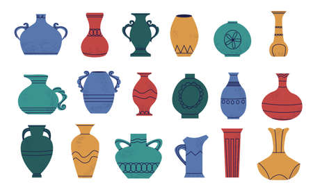 Doodle pottery. Cartoon abstract shapes of ancient amphora. Retro vase and antique wine jar mockup. Hand drawn ceramic jug. Urn or pitcher with handles. Vector colorful earthenware set