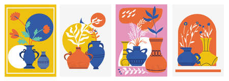 Trendy vase poster. Hand drawn contemporary banners with doodle shapes and pitchers with flowers. Ancient pottery. Interior decoration. Minimal still-life collection. Vector cards set
