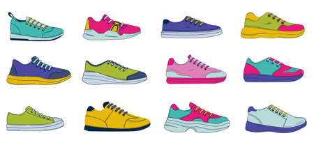 Doodle sneakers. Hand drawn sport and casual footwear. Mens or womens colored fitness and fashion shoes. Footgear with shoelaces. Side view of unisex boots. Vector fashion clothes set