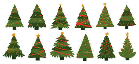 New Year tree. Doodle Xmas celebration decorative elements. Christmas fir sketches collection. Colorful templates for holidays greeting cards. Vector green spruces set with garlands