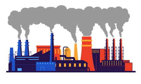 Factory pollution. Carbon dioxide and smoke emission from industrial pipes. Warming and environmental contamination with toxic chemicals. Isolated plant buildings. Vector cityscape
