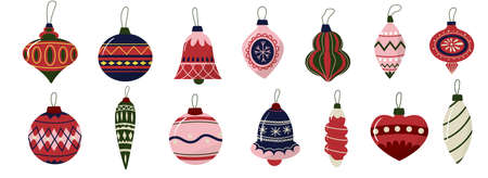 Christmas tree decoration. New Year cute balls set for decorating winter holiday spruce. Doodle retro hanging icicle or bulbs with ornaments. Garland elements. Vector festive fir decor