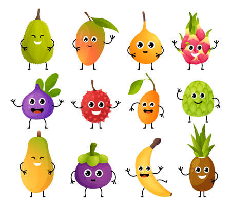 Exotic fruit characters. Cute food mascots. Cartoon mango or banana with hands legs and funny emotion faces. Pineapple and pitaya emoticons mockup. Vector children menu decorations set Illustration