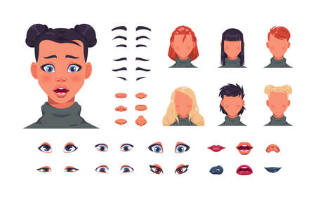 Female face kit. Woman character avatar constructor with hair, eyes and lips. Face shape with various hairstyle. Eyebrows or nose editor mockup. Vector elements set for portrait creation Illustration