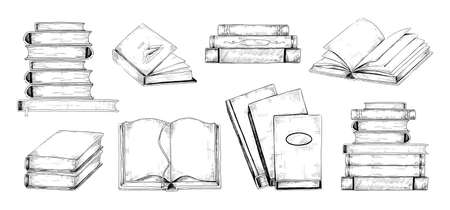 Books sketch. Vintage engraving of stacks and piles of open or closed textbooks. Students reading. School library and education. Hand drawn bookshelf elements. Vector literature set