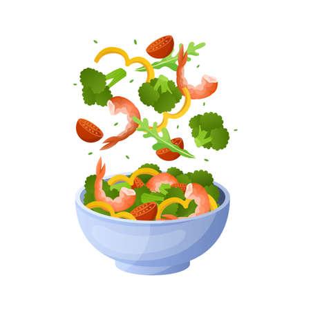 Flying salad. Cartoon bowl with healthy organic ingredients. Green arugula leaves, tomato slices and shrimps. Vegetable pieces falling in plate. Vector vegetarian diet breakfast menu