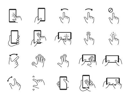 Phone gestures icons. Hand swiping and touching smartphone screen. Mobile display tap and click. Device using signs. Electronic gadget interface pictograms. Vector finger point set